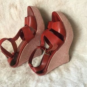 J Crew Womens Size 9 Red Platform heels Italy